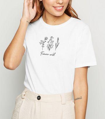 White Forever Wild Floral Slogan T-Shirt