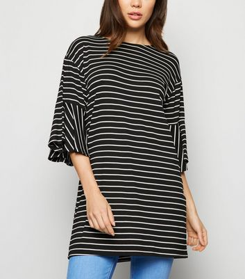 Black Stripe Bell Sleeve Longline T-Shirt