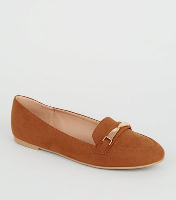Tan Suedette Twist Bar Loafers