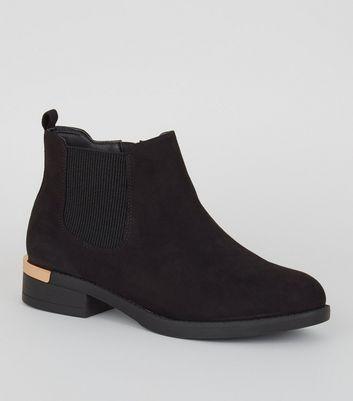Wide Fit Black Suedette Chelsea Boots