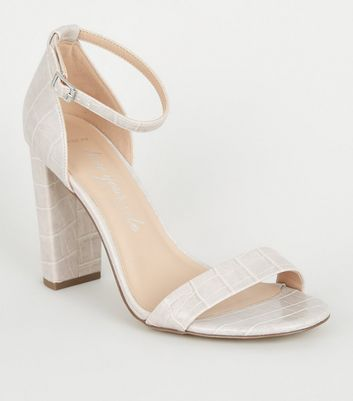 Wide Fit Grey Faux Croc Block Heel Sandals