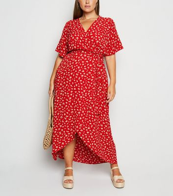 Curves Red Floral Wrap Maxi Dress