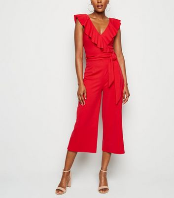 Red Frill Belted Wide Leg Jumpsuit
