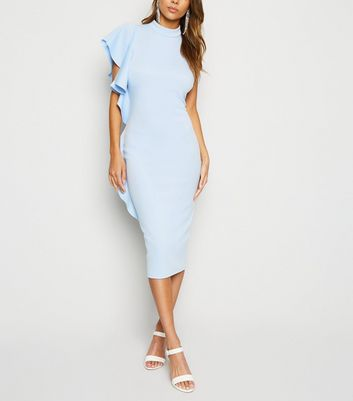 Pale Blue Side Ruffle Midi Bodycon Dress