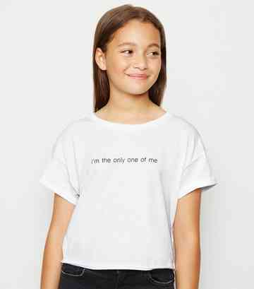 Girls White I'm The Only One Slogan T-Shirt