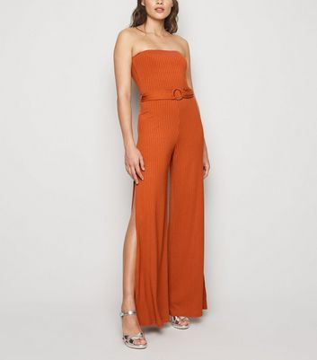 Rust Ribbed Belted Split Strapless Jumpsuit
