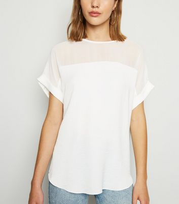 Off White Mesh Panel T-Shirt
