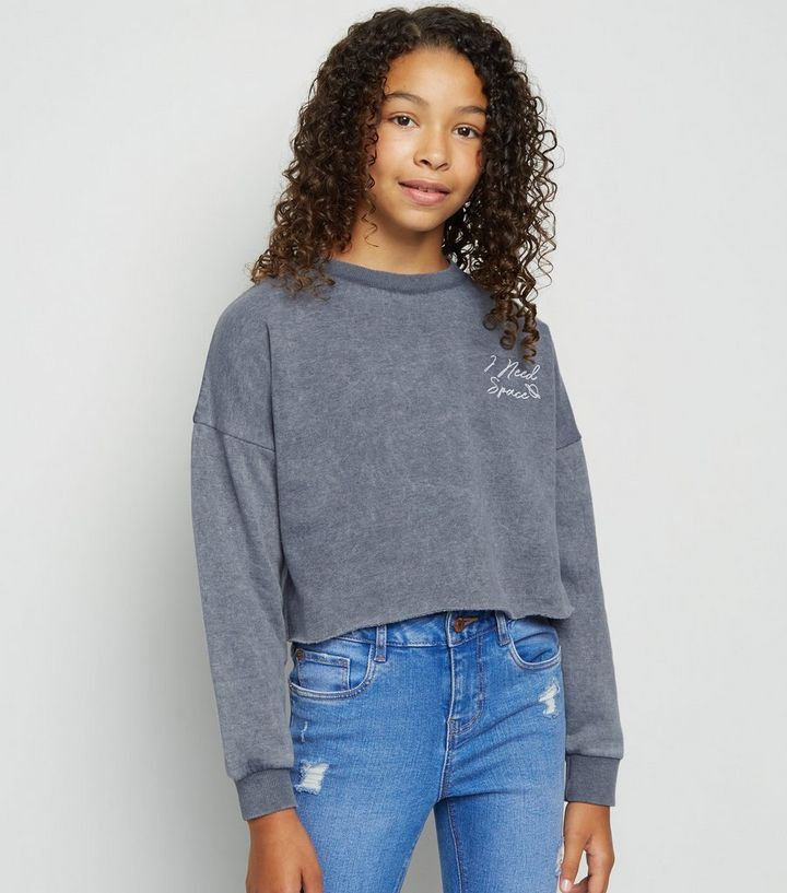 b876e9631 Girls Dark Grey Acid Wash Slogan Sweatshirt Add to Saved Items Remove from  Saved Items