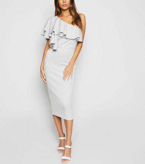 80b1cc53982 ... Grey One Shoulder Ruffle Midi Bodycon Dress ...
