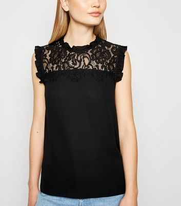 Black High Neck Frill Lace Front Blouse