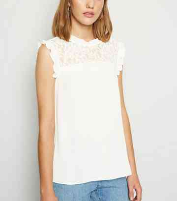 Off White High Neck Frill Lace Front Shirt