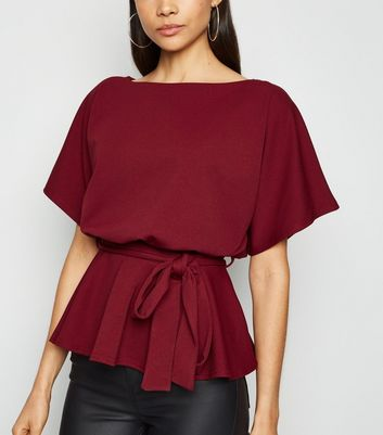 Burgundy Belted Batwing Top New Look