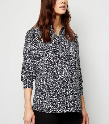 Maternity Black Animal Print Shirt