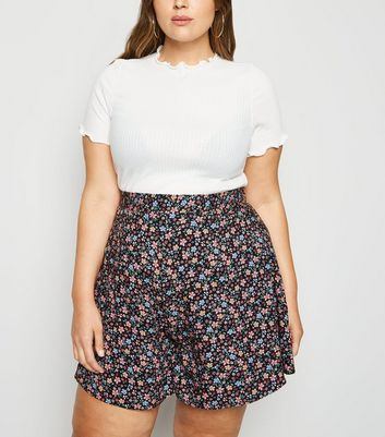 Curves Black Floral Shorts by New Look