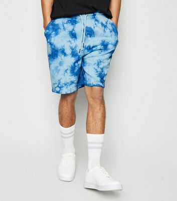 Bright Blue Tie Dye Jersey Shorts
