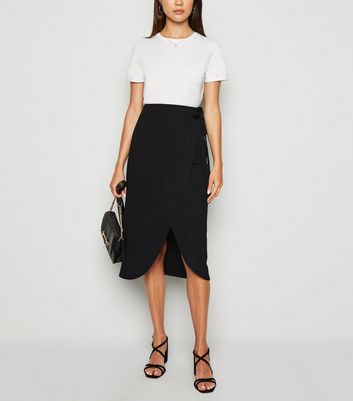 Black Ribbed Wrap Midi Skirt