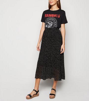 Black Spot Print Pleated Midi Skirt