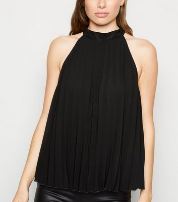 Black Pleated Halterneck Top