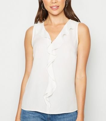White Frill Trim Sleeveless Shirt
