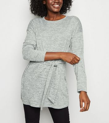 Dark Grey Fine Knit Belted Tunic Top