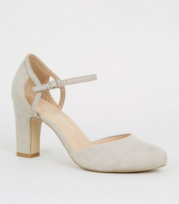 Wide Fit Grey Suedette Block Heels
