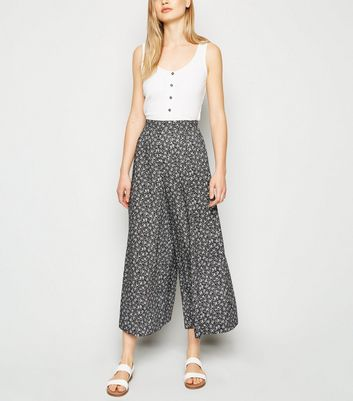 Tall Black Ditsy Floral Crop Trousers