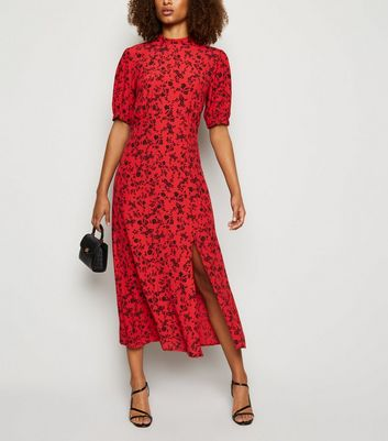 Tall Red Floral Side Split Midi Dress