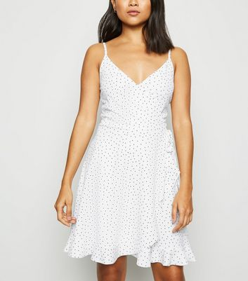 Petite White Spot Ruffle Dress