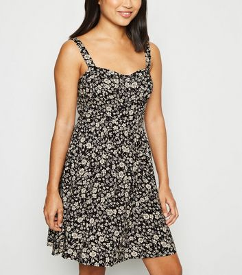 Petite Black Ditsy Floral Print Mini Dress
