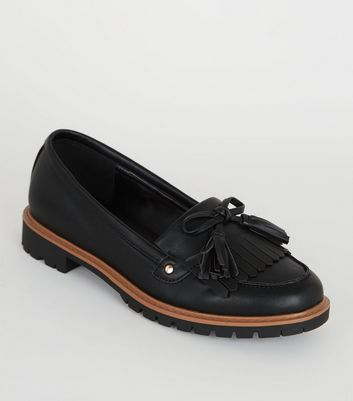 Girls Black Leather-Look Chunky Loafers