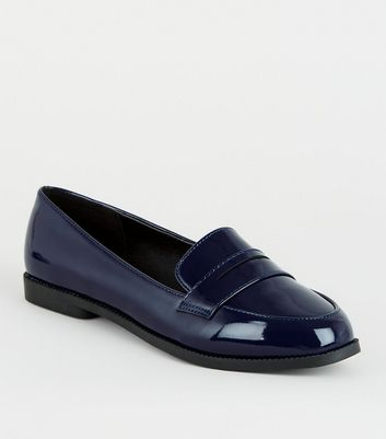 Girls Navy Patent Penny Loafers   New Look