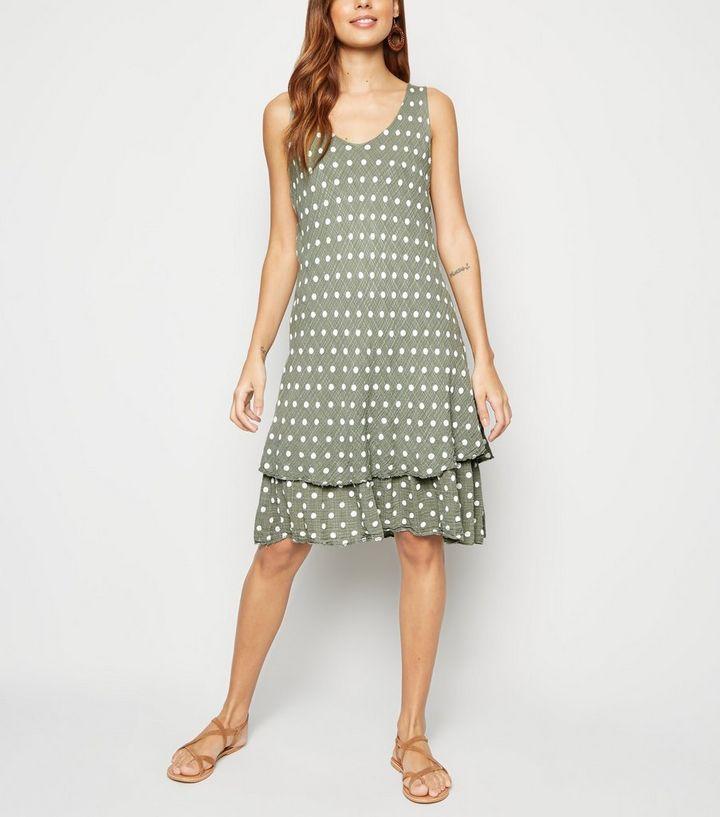 30cd5139f15c Blue Vanilla Khaki Polka Dot Sleeveless Dress   New Look