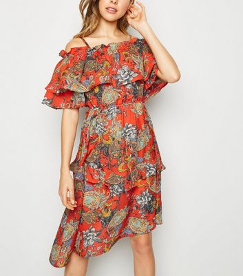 Urban Bliss Red Paisley Asymmetric Dress