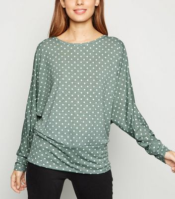 Blue Vanilla Green Spot Batwing Top