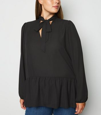 Curves Black Tie Neck Chiffon Blouse