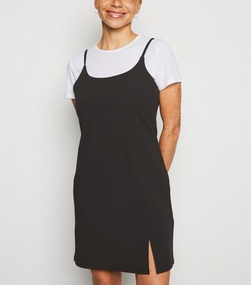 Petite Black 2 in 1 Slip Dress