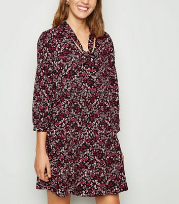Black Ditsy Floral Tie Neck Smock Dress