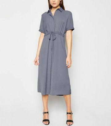 Grey Drawstring Waist Midi Shirt Dress