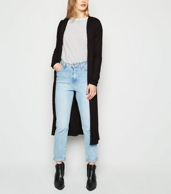 Tall Black Ribbed Midi Cardigan by New Look