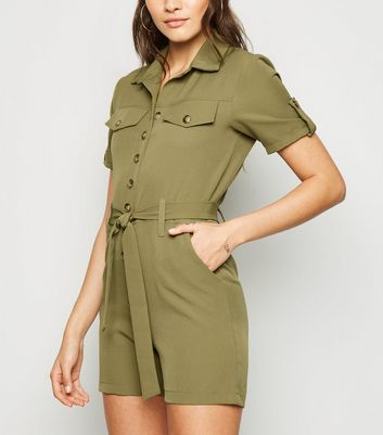 Cameo Rose Khaki Utility Playsuit