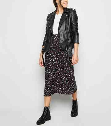 64a2e984f19b Black Floral Rose Print Midi Skirt ...