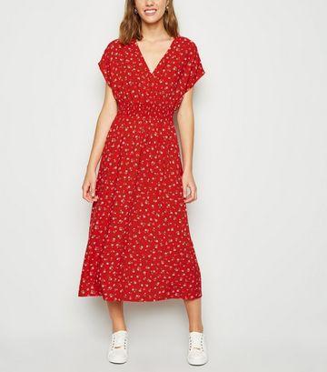 Red Floral Shirred Waist Wrap Midi Dress