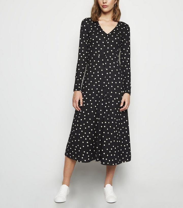 8fee90022b0b Black Spot Soft Touch Long Sleeve Midi Dress   New Look