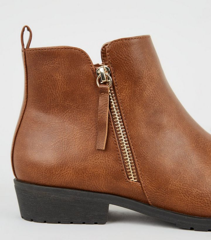 best sell order where to buy Tan Leather-Look Flat Ankle Boots | New Look