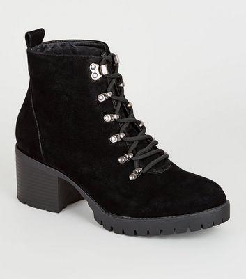 Wide Fit Black Mid Heel Hiker Boots
