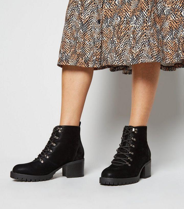 premium selection best online here Wide Fit Black Mid Heel Hiker Boots | New Look