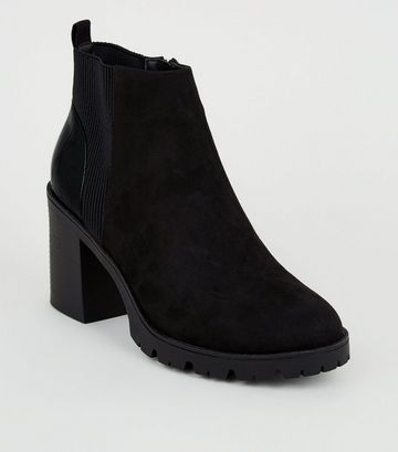 Black Faux Croc Panel Chunky Chelsea Boots