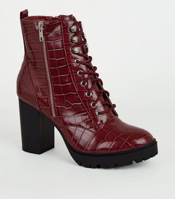 Dark Red Faux Croc Chunky Lace Up Boots