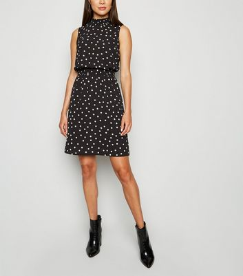 Black Spot Shirred High Neck Dress
