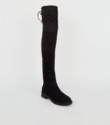 Black Suedette Chunky Over the Knee
